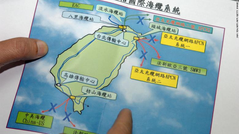 نقشه قطعی کابل های اینترنت در ساحل تایوان
