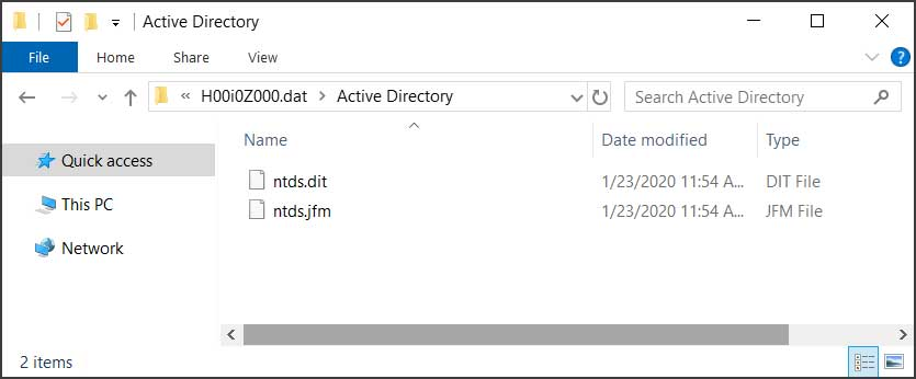 The dumped Active Directory database